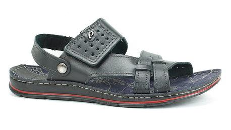 Sandałki męskie skórzane - PEGADA 132802-05 czarne (1)