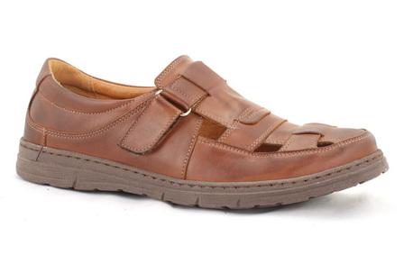 Męskie buty letnie - RYŁKO IA1803_6YK, brązowe sandałki męskie