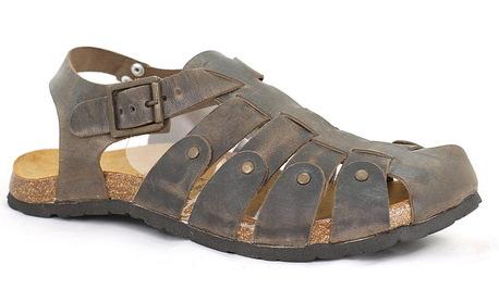 Sandały męskie skórzane, rzymianki męskie brązowe ANDIAMO 8809 T.Moro (1)